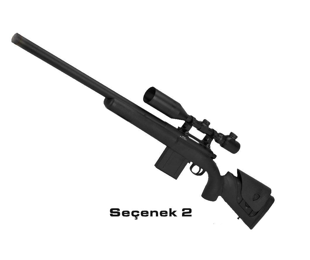 APS M40A3 Bolt Action Airsoft Sniper 550FPS Siyah + Dürbün + BIPOD Ayak
