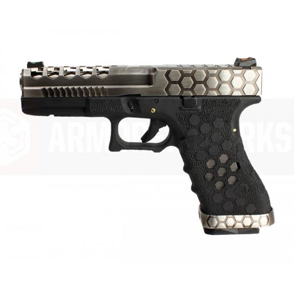 AW VX0100 Hex Cut ''Signature Model'' 1.7 GBB Airsoft Tabanca - Gümüş-Siyah
