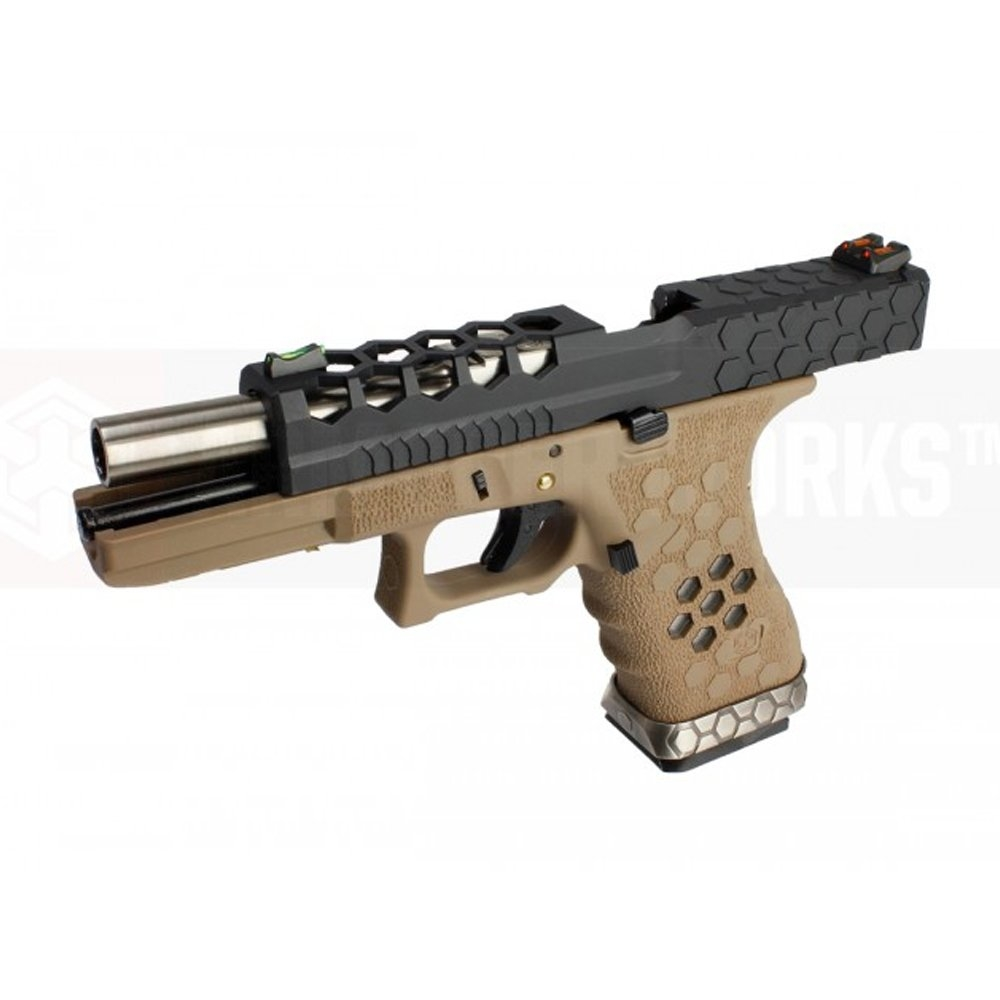 AW VX0111 Hex Cut ''Signature Model'' 1.7 GBB Airsoft Tabanca - Tan - Siyah