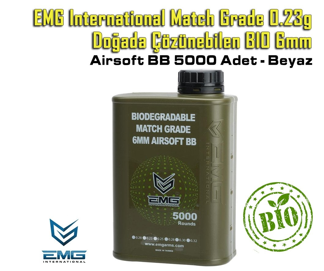 EMG International Match Grade 0.23g BIO 6mm Airsoft BB 5000 Adet - Beyaz