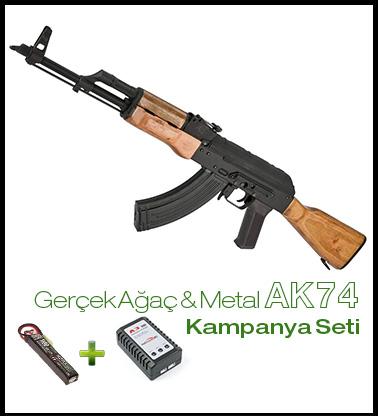 Klasik AK-74 Pil+Şarj SETi CYMA AK-74 GERÇEK AĞAÇ