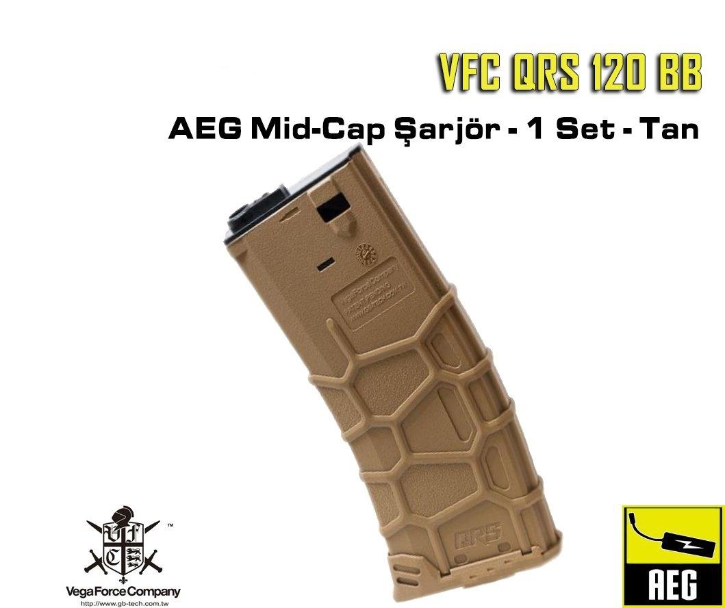 VFC QRS 120 BB AEG Mid-Cap Şarjör - 1 Set - Çöl Rengi