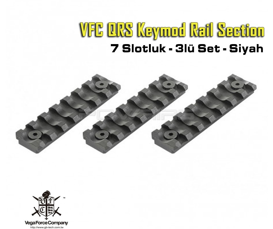 VFC QRS Keymod Rail Section - 7slotluk - Siyah
