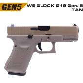WE GLOCK G19 GEN5 TAN GBB AIRSOFT TABANCA - Thumbnail